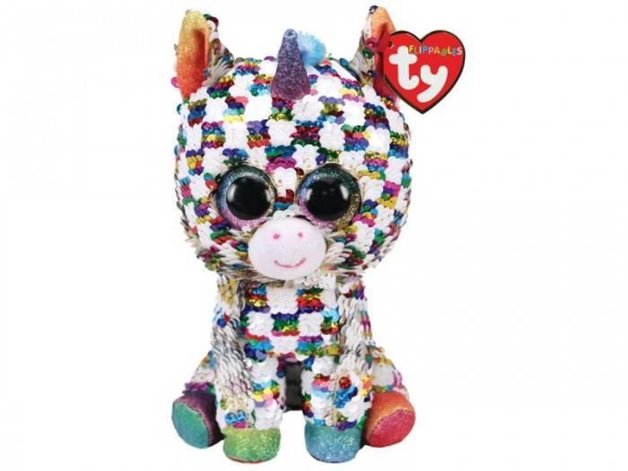 Мягкая игрушка, TY, Юникорн единорог, в разноцветную клетку, с пайетками, 25см