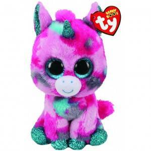 Мягкая игрушка, TY, Единорог, розово-голубой, 15см