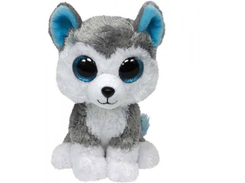 Мягкая игрушка, TY, Слаш собачка, серый, 25см