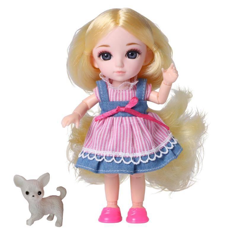 Кукла, Funky Toys, Малышка Лили блондинка с собачкой, 16см