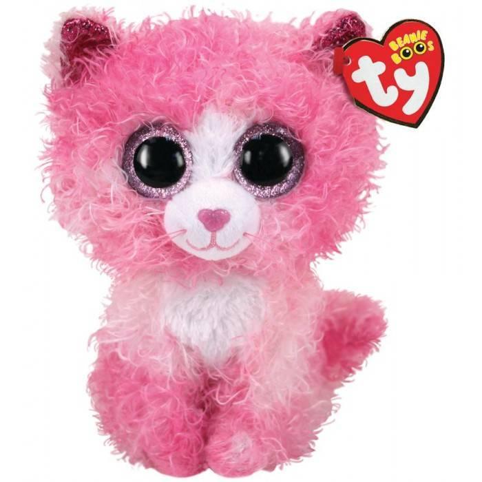 Мягкая игрушка, TY, Рейган кошка, розовая пушистая, 15см