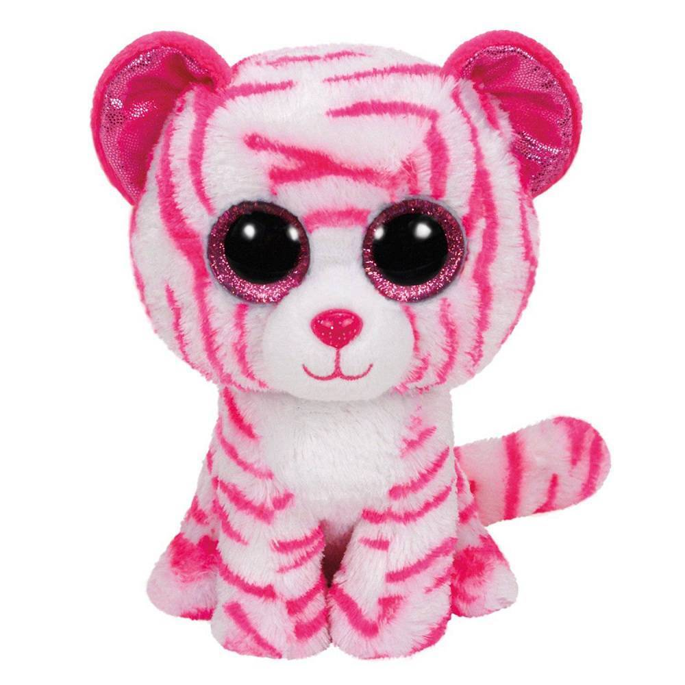 Мягкая игрушка, TY, Азия, тигр бело-розовый, 25см