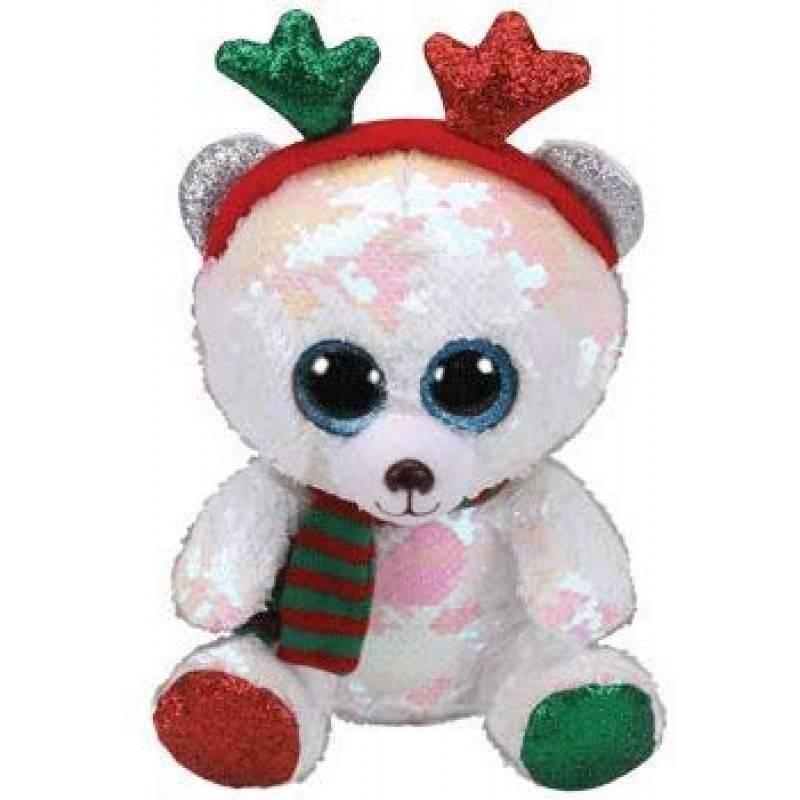 Мягкая игрушка, TY, Мистлтоу медведь с оленьими рогами, с пайетками, 25см