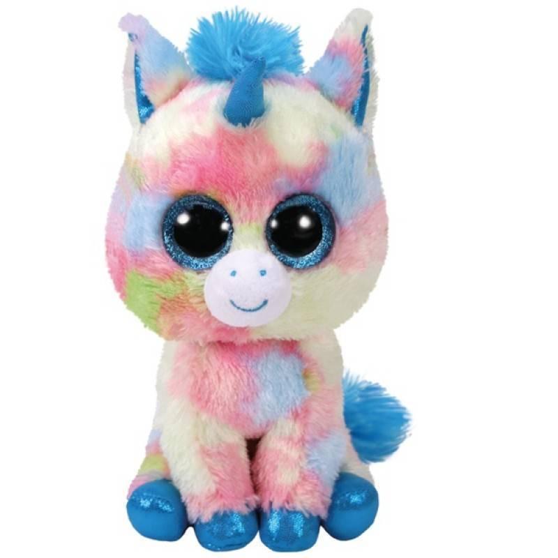 Мягкая игрушка, TY, Блитз, единорог голубой, 15см